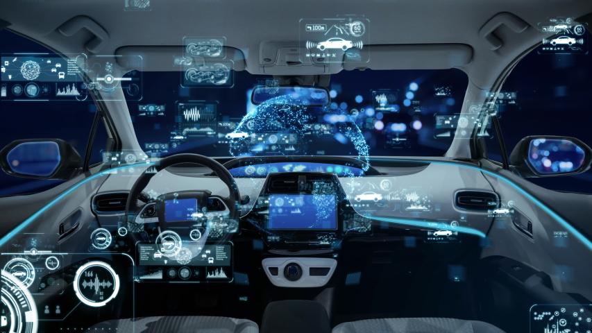 Automotive technology concept. Cockpit of autonomous car. Royalty-Free Stock Footage #1030568834