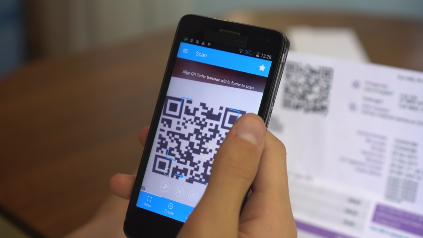 Payment of utility using QR code and mobile device. Real-time contact-free QR code payment. QR Code Scanner. Electricity and Gas Bill.Consumer pays on his smartphone