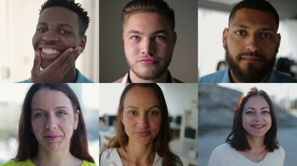 Collage of medium shots of young people of different races being inside and outside, looking at camera, smiling. Lifestyle concept