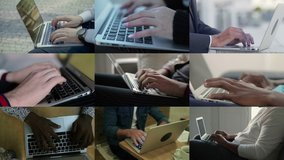 Collage of close up shots of female and male hands of different races working on laptop, typing. Work, communication concept