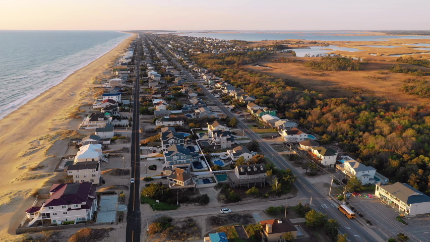 Aerial View Up Over Homes and Coastal Shoreline at Virginia Beach