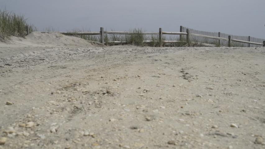 Gimbal walk on a Atlantic City beach