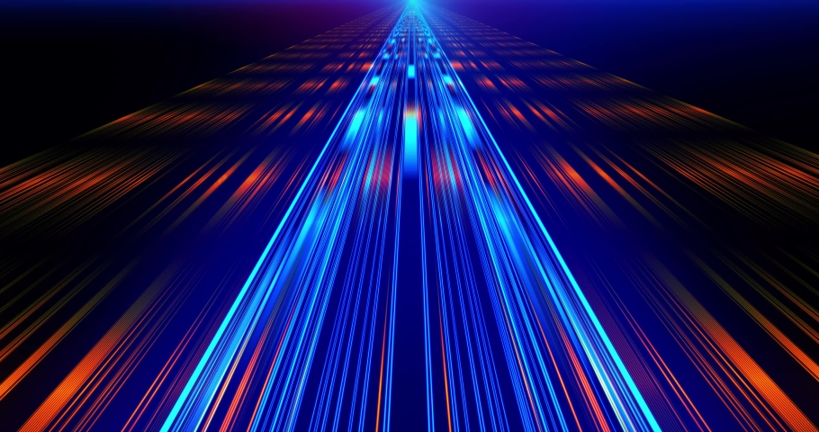 Flight in laser beam Fast Energy streaks VJ Lasers, background. Geometric background. Moving energy. Retro neon colors. Colorful backdrop. Neon lights. Orange and Blue.