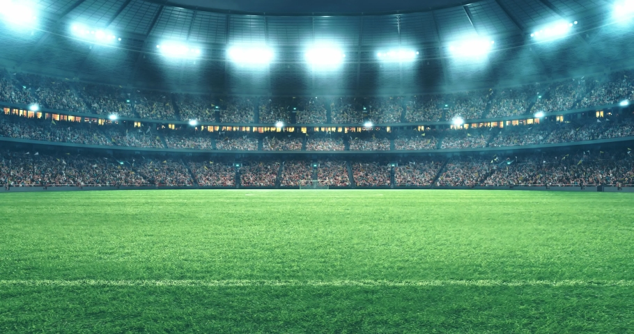 4k footage of a soccer stadium at night. The stadium was made in 3d without using existing references. Royalty-Free Stock Footage #1030617416