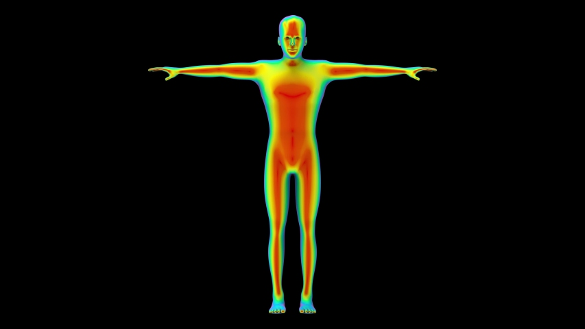 Loopable turntable of Human body scan by infrared rays measure with alpha channel footage motion background. | Shutterstock HD Video #1030646750