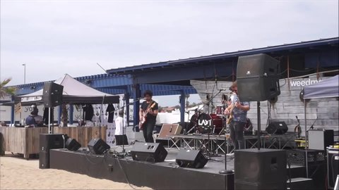 HUNTINGTON BEACH, CA - JUNE 1, 2019: Band performing at free outdoor public event in Huntington Beach