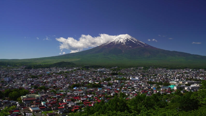 Scene of Fuji Mountain and small city, Japan  | Shutterstock HD Video #1030674320