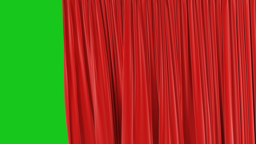 Beautiful Seamless Red Single Curtain Opening and Closing on Green Screen. Looped 3d Animation Abstract Realistic Curtain Revealing Background. Useful for Transitions Alpha Mask 4k UHD 3840x2160