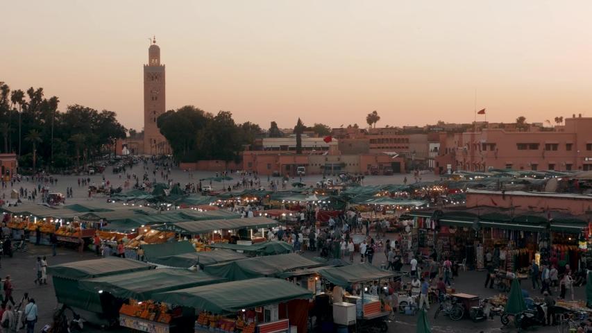 MARRAKECH, morocco 15 MAY 2019: Evening in Djemaa el Fnaa square in Marrakech. Evening in the messy Djemaa el Fnaa square in Marrakech, crowd people shopping ramadan kareem