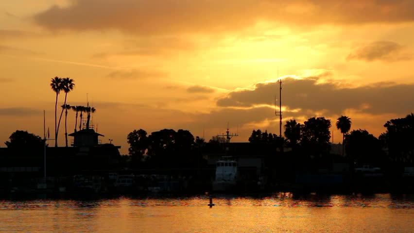 Sunrise Behind Boat in Marina del Rey, CA