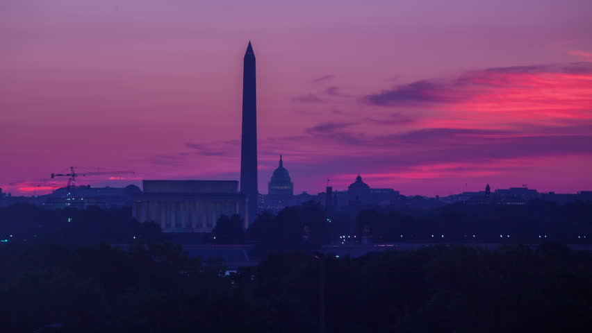 Sunrise over Washington D.C. with the Lincoln Memorial, Washington Monument, and Capitol Building