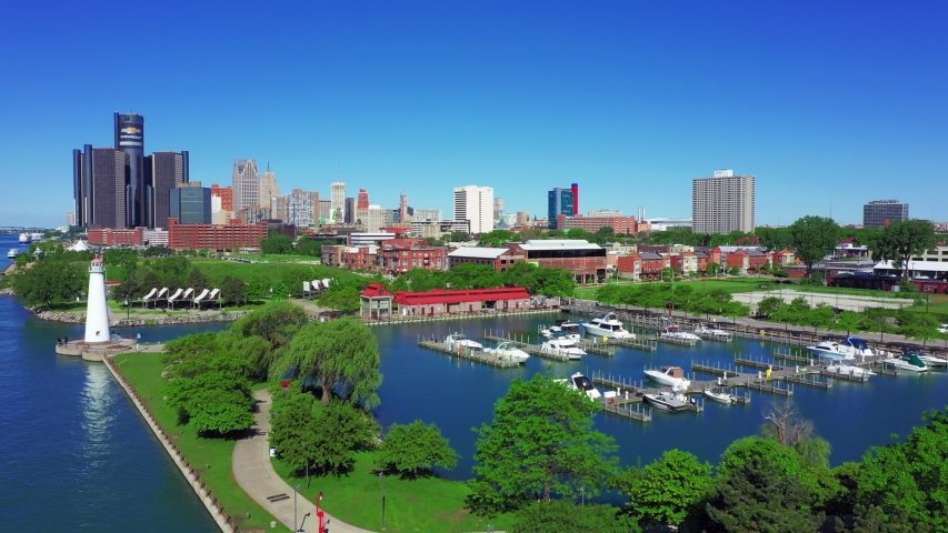 Aerial view of Detroit Riverwalk with Park and Harbor
