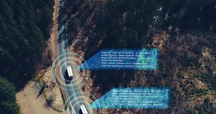 Autonomous Self Driving trucks driving on a forest highway with technology assistant tracking information, showing details. Visual effects clip