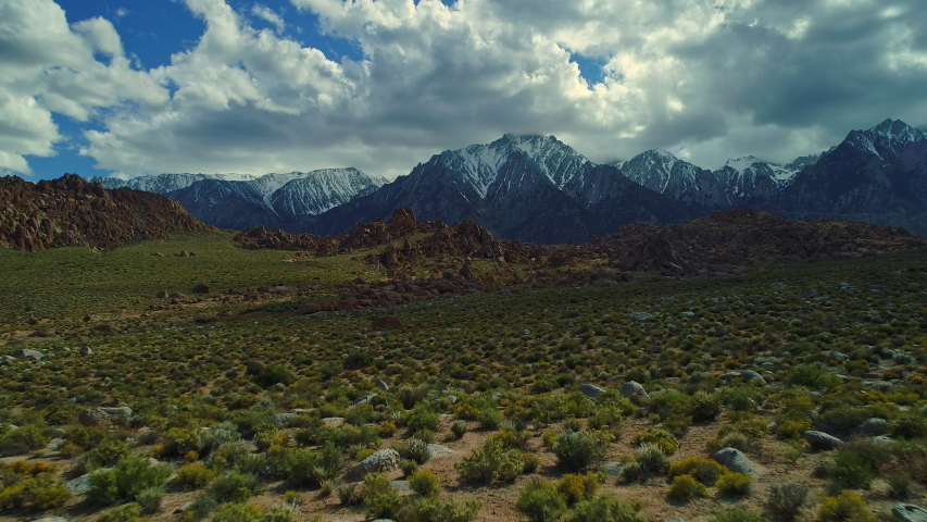 Lone Pine Snow Desert Mountains, California Aerial