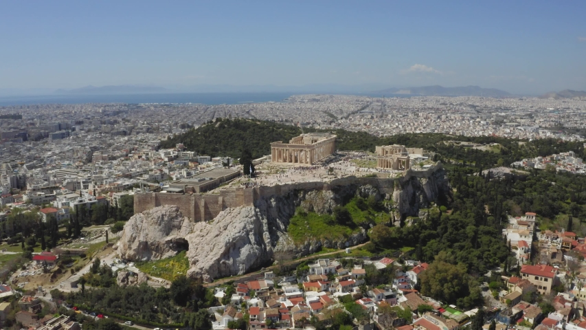 Parthenon, Acropolis, Athens, Greece. Drone shot / bird's eye aerial view. | Shutterstock HD Video #1030778942