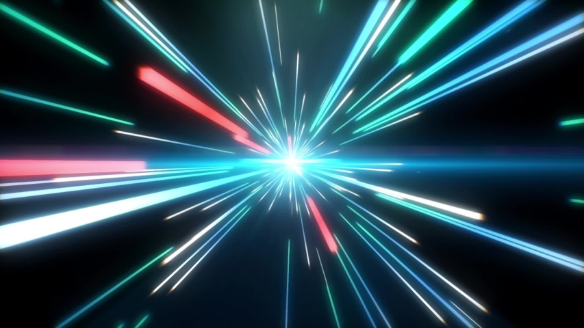 Blue and Red Light Streaks, Futuristic, Speed Motion, Flare, Abstract Background.