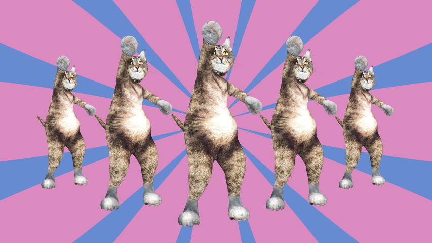 Comic tomcats waving paws and tail in an energetic clip summer mood. A cute brown pussycats dancing together in a modern style in tunnel colour space. Cool and the best moves in stylish of 80s and 90s Royalty-Free Stock Footage #1030783859