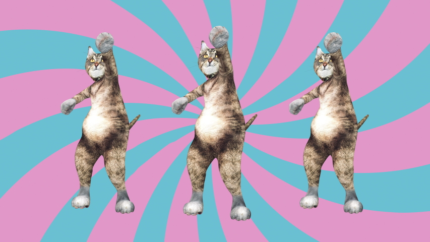 Comic tomcats waving paws and tail in an energetic clip summer mood. A cute brown pussycats dancing together in a modern style in tunnel colour space. Cool and the best moves in stylish of 80s and 90s | Shutterstock HD Video #1030783868