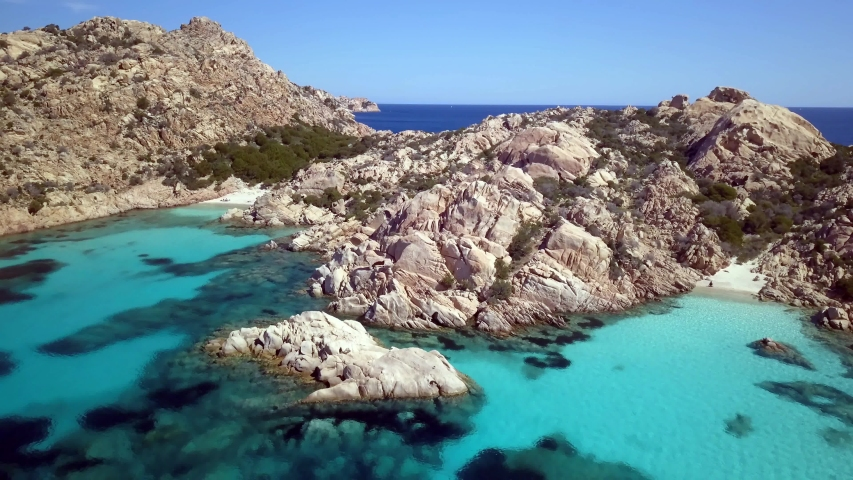 Aerial view of the coast of Cala Coticcio, one of the most Beautiful beaches in the world, Island of La Maddalena, Sardinia.