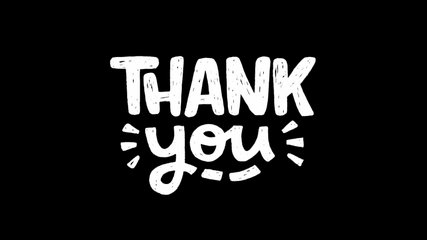 Animated phrase Thank You on transparent background. Moving hand drawn script with thanking message. Ultra HD motion graphic of white lettering text for saying thanks. 2d footage alpha channel