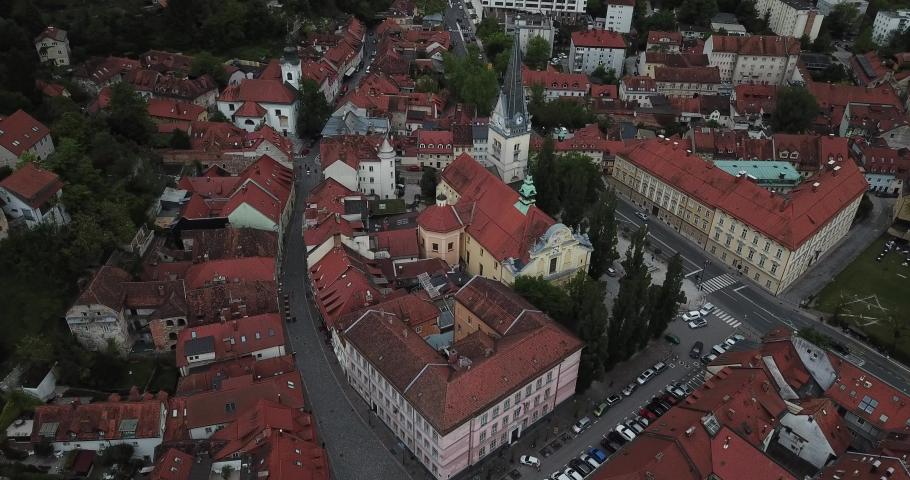 Aerial view of Ljubljana, capital of Slovenia Royalty-Free Stock Footage #1030807805