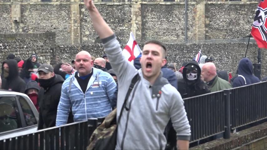 London, United Kingdom (UK) - 01 30 2016: A man gives a Nazi salute