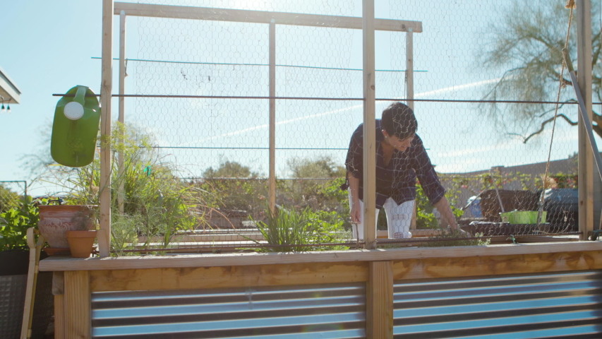 Woman working in her home garden outside on a beautiful sunny day. Shot on a Canon C200 in 4K in Phoenix, Arizona in 2019.