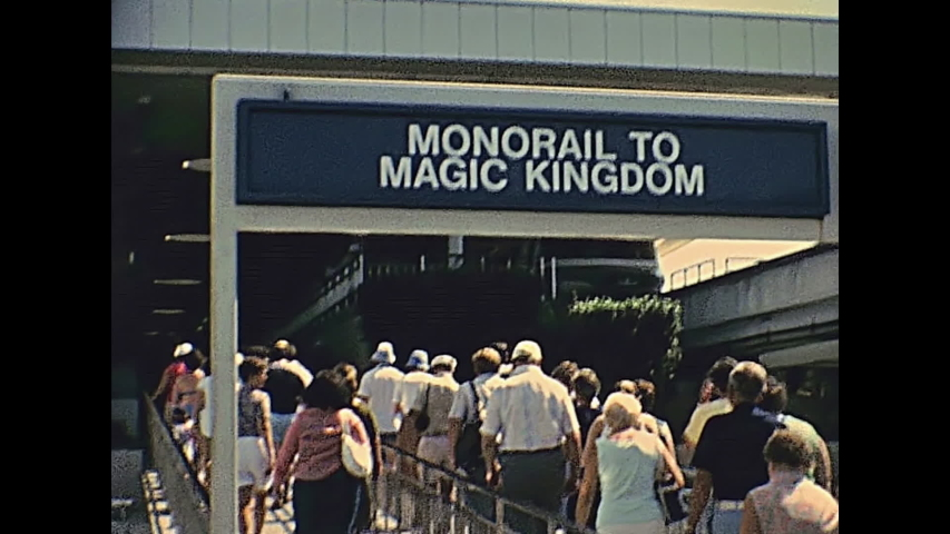 Bay Lake, Florida, United States - Circa 1979: Historical monorail station of Bay Lake to Magic Kingdom of Walt Disney World in Orlando city. United States of America 1979. Transportation and tickets