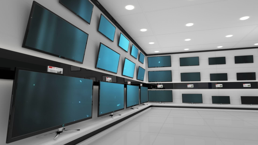 Digitally generated animation of flat screen televisions on display with lines and dots on their screens | Shutterstock HD Video #1030860878