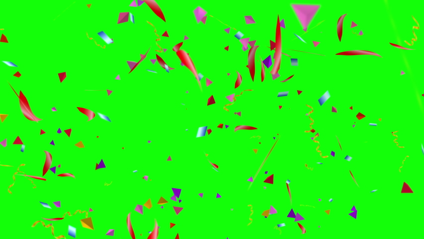 Confetti fall on colour background on green screen | Shutterstock HD Video #1030873763