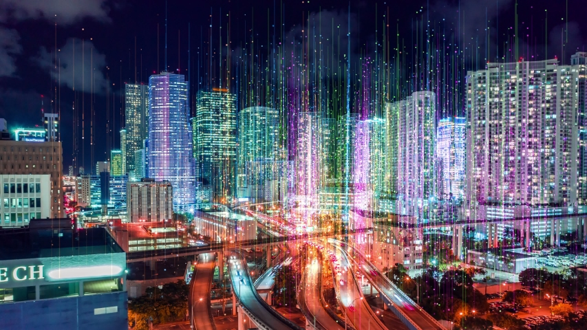 Night City Hyperlapse Aerial view Futuristic network and technology, City connected through 5G, wireless network, Ai technology data communication, mobile technology concept, cloud computing, timelaps