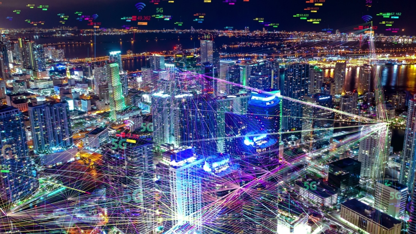 Night city Aerial view 5G technology concept Hyperlapse, Cloud computing icons technology concept, Wireless network, mobile technology and data communication, artificial intelligence, Ai, internet, 4K