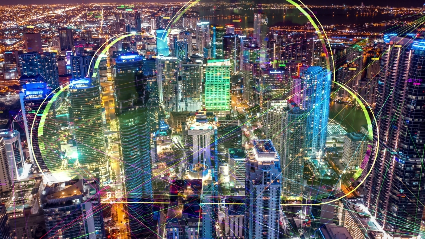 Night city hyperlapse Aerial city connected through 5G. Cloud computing  icons technology concept, Wireless network, mobile technology and data communication, artificial intelligence, Ai, internet, 4K