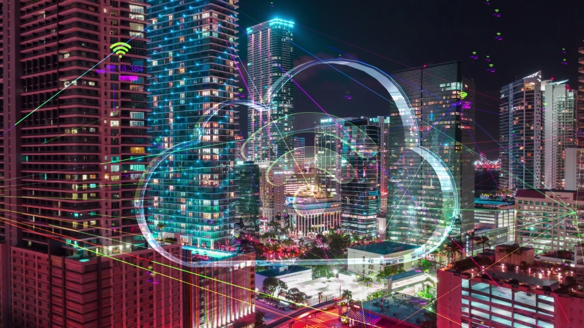 Futuristic city technology concept with Wireless network 5G icons, Futuristic Night City Hyperlapse data communication, big data using artificial intelligence. Aerial smart city. Financial District  Royalty-Free Stock Footage #1030891667