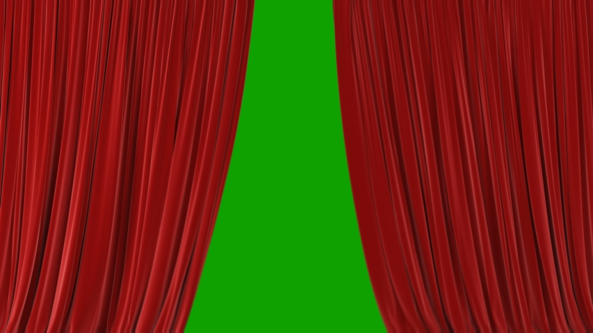 Beautiful Red Waving Curtains Opening and Closing on Green Screen. Abstract 3d Animation of Silk Cloth Revealing Background.