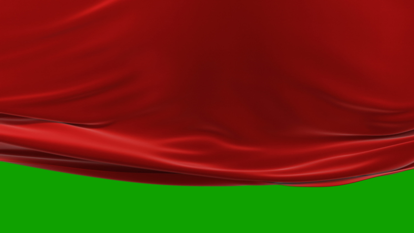Beautiful Red Waving Cloth Moving Up Opening the Background. Abstract 3d Animation. Wavy Silk Fabric Surface Motion Revealing Screen.