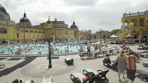 Budapest / Hungary - June 6th 2019; Wonderful Hot Spring in Budapest,  View of Szechenyi hot spring