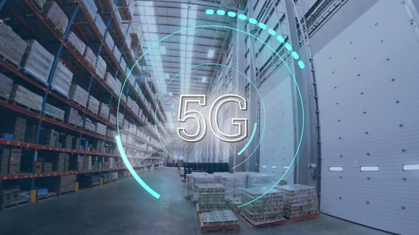 Digital animation of futuristic circles moving around 5G with background of a warehouse | Shutterstock HD Video #1030908464