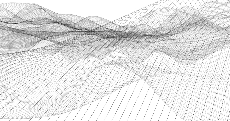Looping wireframe waves. Black and white line effect. Cool background for technology and data centric videos. Tint with your own color schemes. Motion is organic and will loop perfectly