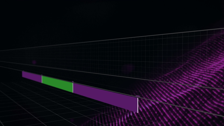Digital animation of green and purple rectangles with square graphs while land graph | Shutterstock HD Video #1030911986