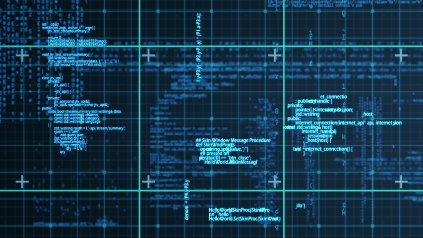 Digital animation of program codes and digital circuit moving against a dark background   Shutterstock HD Video #1030915055