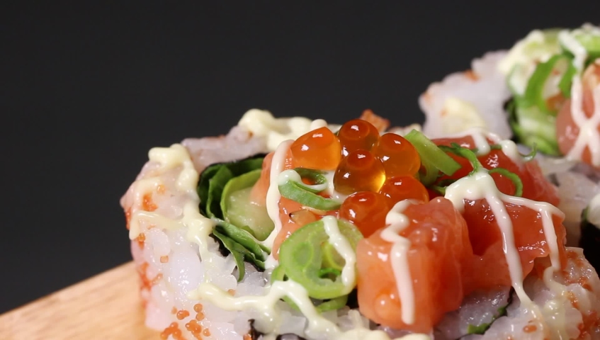 Japanese Seafood roll Close up | Shutterstock HD Video #1030921217