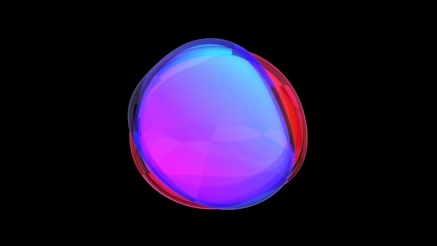 Abstract 3d animation, colored bubble, motion design, 4k seamless looped video #1030951469