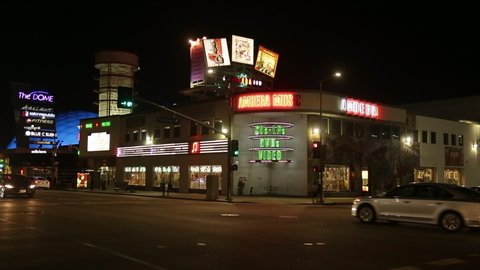 Iconic record store on sunset boulevard in Hollywood Los Angeles California may 2019