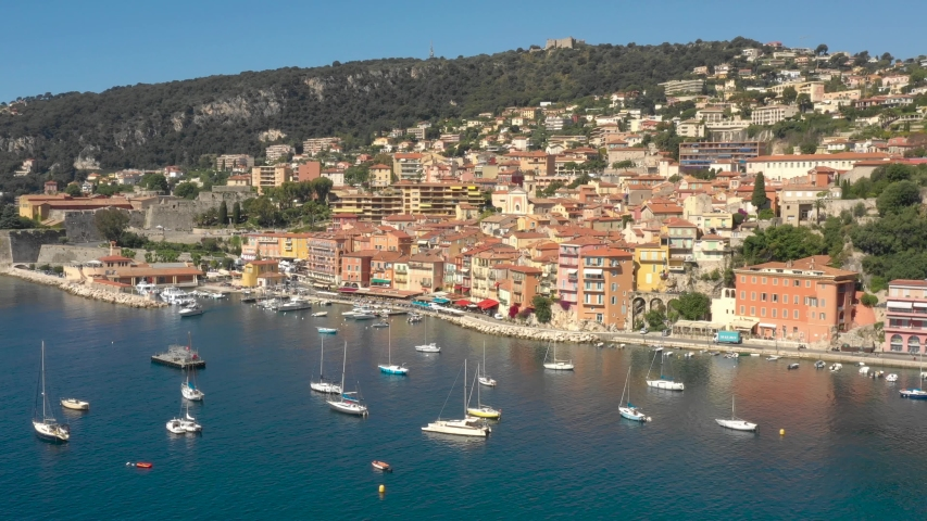 France, Villefranche-sur-mer, aerial view by drone | Shutterstock HD Video #1030959941