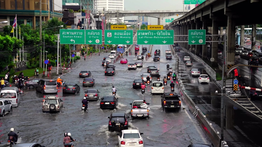 Bangkok, Thailand - June 7, 2019 : The flood on Vibhavadi-Rangsit road after heavy rain  in Bangkok, Thailand