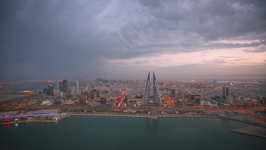 Aerial view of Manama city with clouds, Bahrain