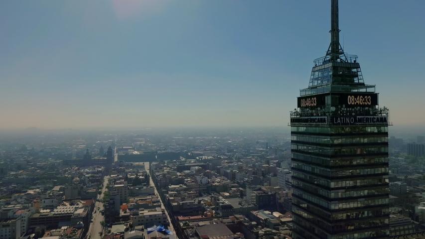 mexico, cdmx / Mexico - 11 01 2018: Shot of Torre Latinoamericana emblematic building in mexico city shot on November 1, 2018 #1031030987