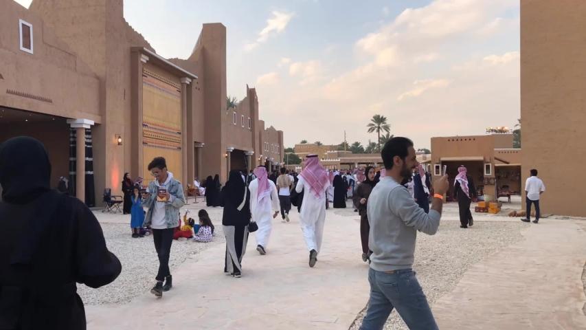 Riyadh, Saudi Arabia - December, 14 2018: Saudi people and families visit Diriyah, the old site in the city