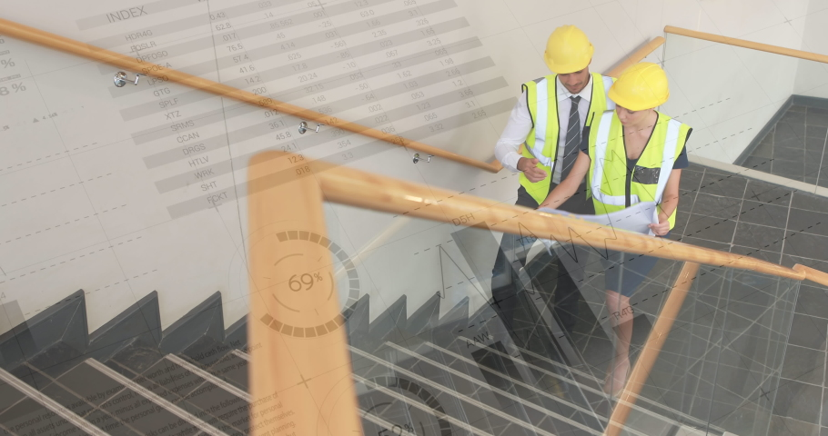 Digital composite of male and female Caucasian architects walking up the the stairs wearing safety construction gear with graphs and statistics in the foreground   Shutterstock HD Video #1031093285
